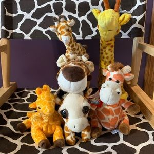 Assortment of plush giraffes.